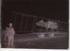 A. Lumiere & ses fils Lyon - 9 negatives on glass - Aereo Farman MF11 SHORTHORN with French Officers of the WW1