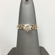Gold with diamonds engagement ring, 0.60ct total 14kt yellow gold - size 5.5