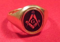 Masonic 18ct on Sterling Silver Blue Enamelled Oval reversible ring mint condition size x
