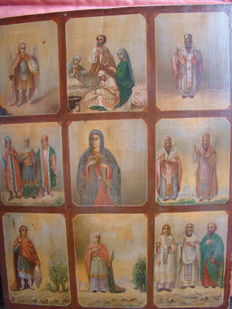Large icon from Russia with 9 sections - HAND-PAINTED - beginning of the 20th century