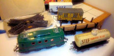 Hornby-EN/Jep, France - scale 0 - Tin electric Locomotive, 4 cars and crossover, 50s