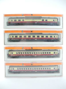 """Arnold N - 3830 / -10 / -50 - 4-piece passenger car (coach) """"TEE"""" including panorama car of the DB [247]"""