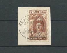 Suriname 1923 - Anniversary stamps - NVPH 110 on a piece of a letter