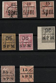 Former French colonies, Saint Pierre and Miquelon 1885/1891 – 'French colonies' stamps surcharged SPM