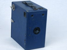 ENSIGN E29,  version in blue color, box-type camera, made in England, ca. 1928