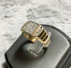 18kt yellow gold with diamonds ring, 1.30ct total