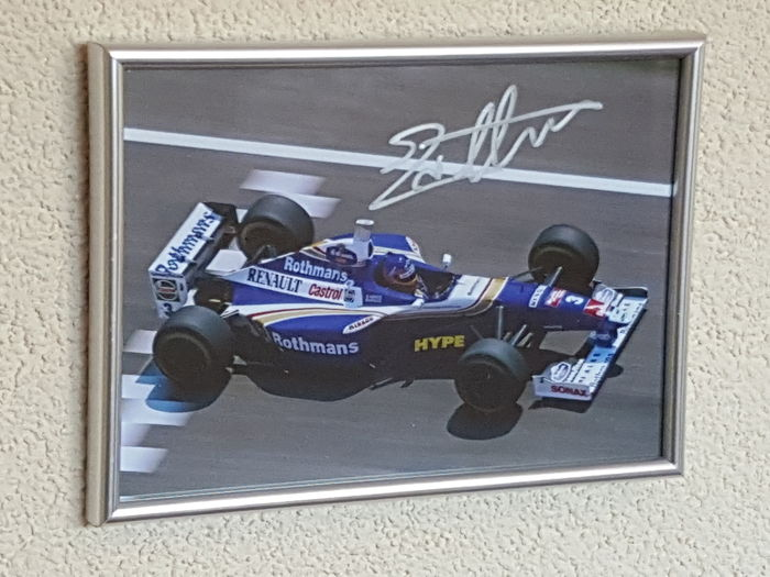jacques villeneuve world champion formula 1 original autographed framed photo f1 coa. Black Bedroom Furniture Sets. Home Design Ideas