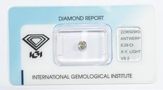 0.29 ct briljant geslepen diamant, X-Y (light yellow), VS2