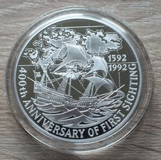 Falkland Islands – 25 Pounds 1992 'Anniversary of first sighting' – silver 5 oz