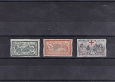 France 1907/1918 – Red Cross and Merson – Yvert no. 143/144 and 156.