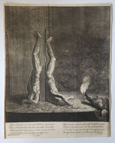 Brothers de Witt; Lot of 4 engravings;  Death and mutilation of the brothers de Witt, portrait of Cornelis and Johan de Witt, RAID on the white in the prison gate