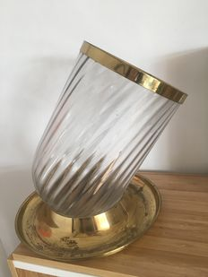 Vessel for chocolates, crystal and brass... circa 70