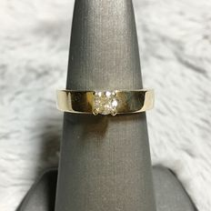 14kt Yellow gold solitaire ring, 0.25ct total - size 6,5