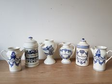 Lot with seven hand-painted pharmacists pots.