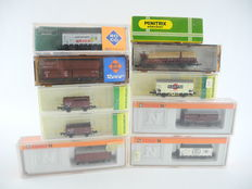 Arnold/Trix/Roco - 4410/4281/4278/02337/2321/25023/e.a. - 10-piece goods train with different goods-wagons, mostly of the  DB/DR   [254]