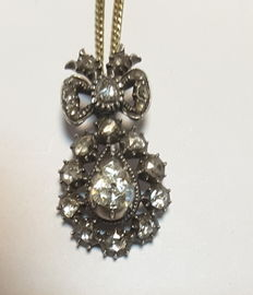Gold necklace with silver pendant with rose cut diamond
