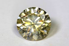 Diamond - 1.32 ct - Fancy greyish yellow - No reserve price.