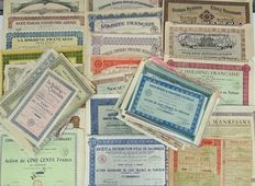 Collection of 50 old shares from France, Roumania and Spain.