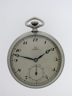 Original Omega ART DECO Steel  Pocket Watch Swiss 1930