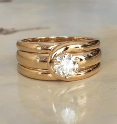 18 KT geelgouden band dames solitair ring met diamant ca 0,46 ct J/VVS
