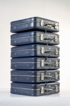 6 Vintage KLM suitcases, in the colour blue, with key and spare key