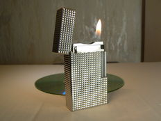 Silver plated diamond point Dupont lighter; large model