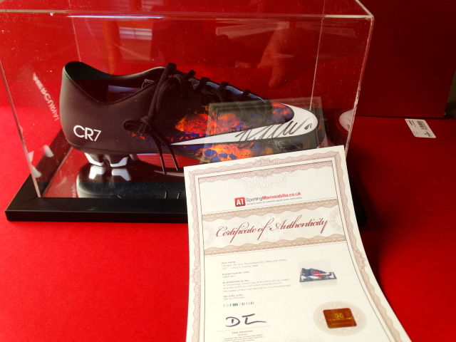 d13a946db Cristiano Ronaldo signed Nike football boot in display case + official ...