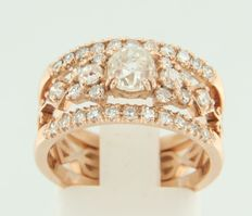 14 kt rose gold ring with a central Bolshevik cut diamond and octagon cut diamonds as entourage