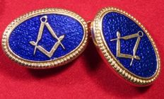Heavy Masonic Brand New 18Ct Gold on Solid Silver with stunning Bright Blue Guilloche Double Oval Cufflinks