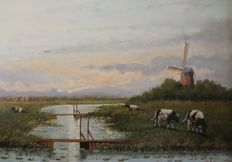 HS Hultman (20th century) - cows in Dutch landscape