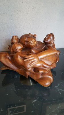 Woodcarving of Mother with children - Bali - Indonesia