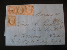 France, 1859. Letter from Constantinople to Annonay. Yvert no. 13b and 16. Signed Calves with certificate.