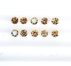 10 champagne Diamonds – 1.50 ct total