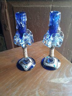 Pair of crystal and silver candlesticks, Italy, 1950/60
