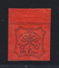 Papal States, 1867 – 10 Cent. – New with original gum.