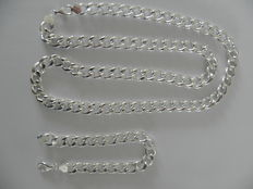 Never worn, silver men's necklace with bracelet, anchor link type, grade 925 silver.