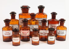 Twelve old Pharmacy Glass Containers, first half 20th century, Germany