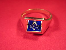 Masonic 18ct on Sterling Silver SQUARE reversible ring mint condition size Z+1