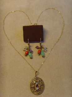 Lot of 3 - Pendant - Dangle earrings and extra necklace  - Silver - gold - gemstones - France.
