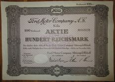 Ford Motor Company AG - Aktie Share 100 Reichsmark Cologne 1934 - stock certificate of famous Ford car manufacturer