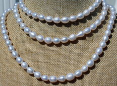 120 cm long freshwater pearl necklace