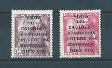 Spain 1950 – Caudillo visit to the Canary Islands – Edifil number 1088/1089