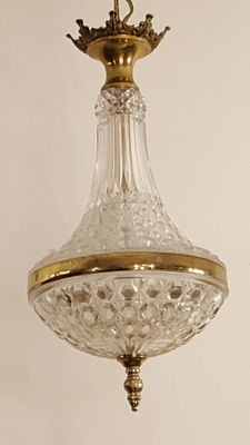 Elegant chandelier made of glass and brass, ca. 1950, France