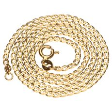 Yellow gold gourmet link necklace in 14 kt - 43 cm