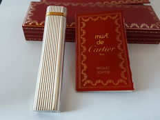 Cartier lighter, silver plated with gold rings, Trinity type, rarely used, like new, lighter, briquet