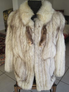 White fox fur coat - Norwegian bluefox - Vintage