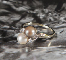 Ring set with ca. 6 mm ∅ bronze colored & white pearl & Diamonds 0,14 ct -  RS:52; US: 6  16,5mm∅