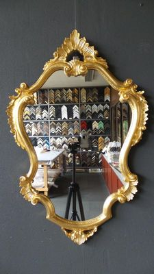 Large Venetian Crest Mirror - Hand gilded - Gold