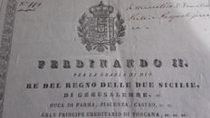 Ferdinand II Kingdom of the Two Sicilies - Permit document to travel to a different province of the Kingdom - 1840