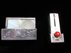 Art Deco - Sterling Silver /Coral Cabochon Lipstick Holder with Mirror
